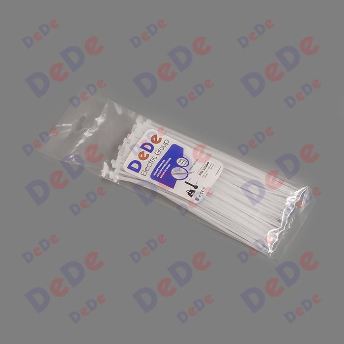 بست کمربندی پلاستیکی با عرض 2.5 میلیمتر و طول 250 میلیمتر سفید رنگ (DTN25250)