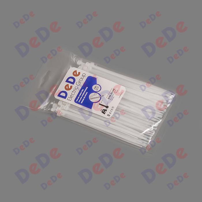 بست کمربندی پلاستیکی با عرض 3.6 میلیمتر و طول 150 میلیمتر سفید رنگ (DTN36150)