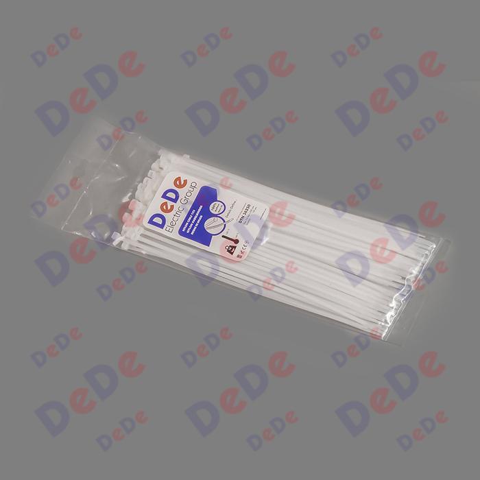 بست کمربندی پلاستیکی با عرض 3.6 میلیمتر و طول 250 میلیمتر سفید رنگ (DTN36250)