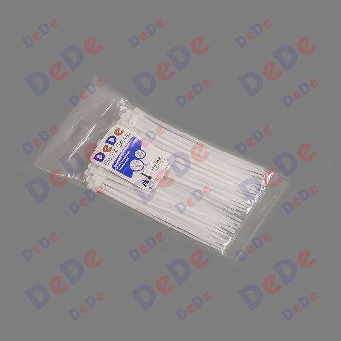 بست کمربندی پلاستیکی با عرض 4.8 میلیمتر و طول 200 میلیمتر سفید رنگ (DTN48200)