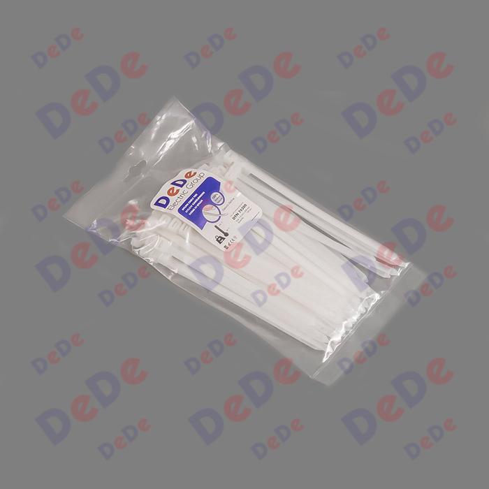 بست کمربندی پلاستیکی با عرض 7.6 میلیمتر و طول 200 میلیمتر سفید رنگ (DTN76200)