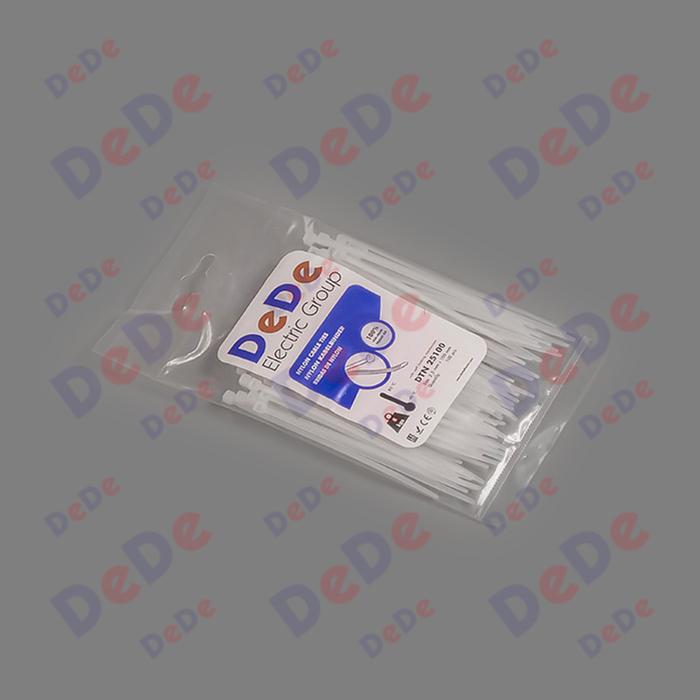 بست کمربندی پلاستیکی با عرض 2.5 میلیمتر و طول 100 میلیمتر سفید رنگ (DTN25100)