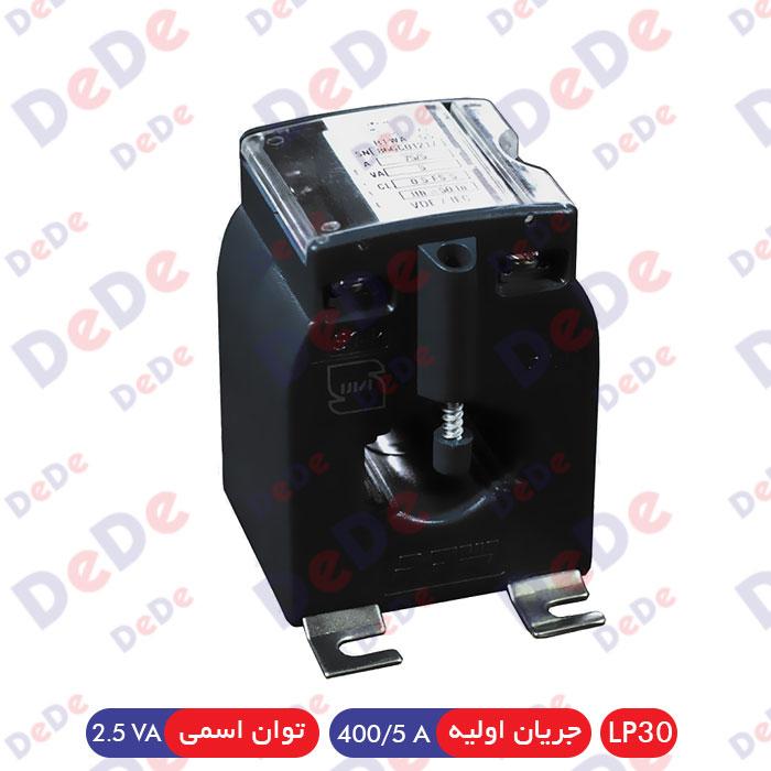 ترانس اندازه گیری جریان جهت شینه 10*30، جریان اولیه 400/5 آمپر، 2.5 ولت آمپر، کلاس دقت 0.5 (LP30-0400/5-2.5-0.5)